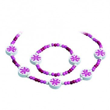 Collier et bracelet enfant rose-fuschia - Artisan Tchèque