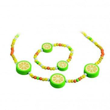 Parure collier et bracelet en bois Citron - Artisan Tchèque