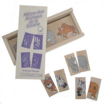 Mémo-Dominos des Animaux de la Savane - Artisan du Jura