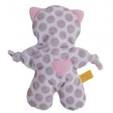 Doudou Flat Cat pois gris et rose bébé - Moncalin