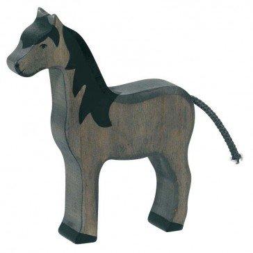 Cheval noir en bois - Holztiger
