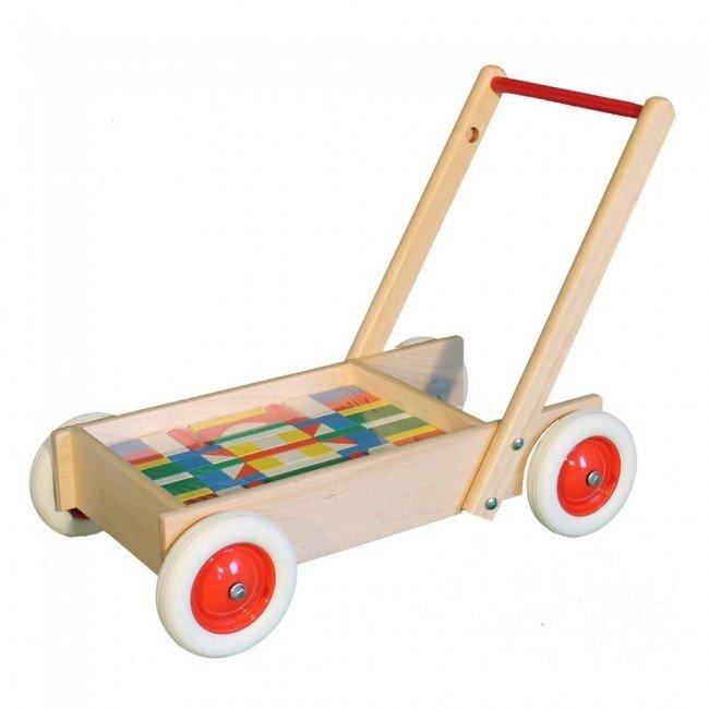 chariot de marche en bois avec 61 cubes color s ebert. Black Bedroom Furniture Sets. Home Design Ideas