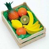 Grande cagette de fruits exotiques en bois