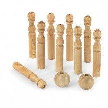9 quilles en bois massif H 30 cm - Artisan du Jura