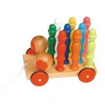 Chariot de 9 quilles en bois - Artisan du Jura