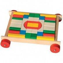 Charrette de blocs en bois colorés
