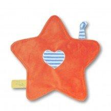 Doudou petite étoile orange rayures bleues - Moncalin
