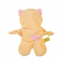 Doudou Flat Cat jaune et rose bébé - Moncalin