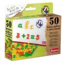 Coffret 50 lettres cursives, chiffres et signes magnétiques - Jeujura