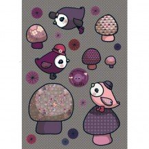 Stickers Piou Piou rose - Poisson Bulle