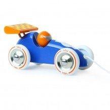 Voiture de course à traîner bleue/orange - Vilac