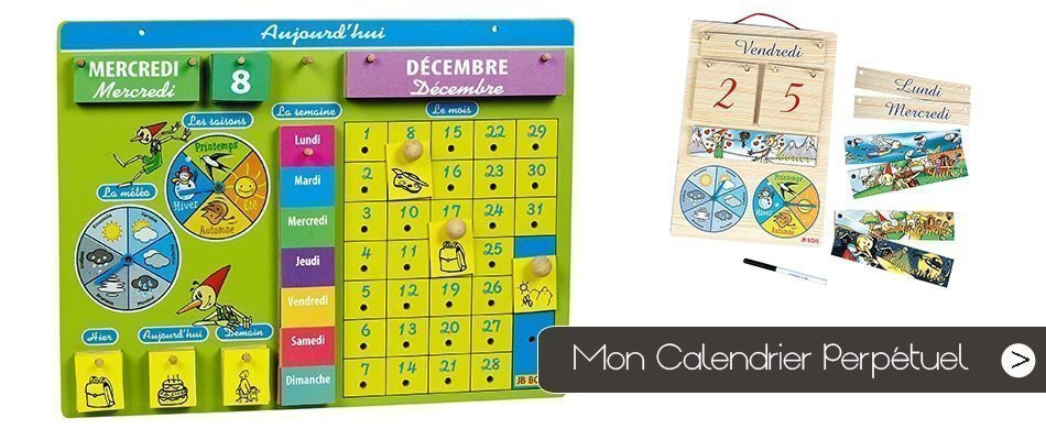 Le calendrier perpétuel permet aux enfants de se repérer dans le temps