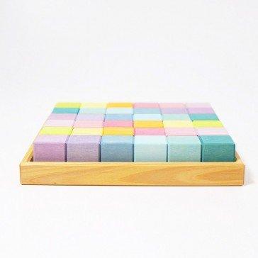 36 cubes pastel de construction - Grimm's