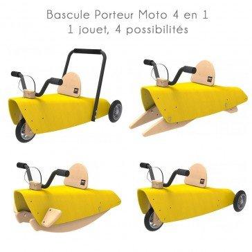Bascule Porteur Moto 4 en 1 jaune - Chou Du Volant