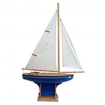 Voilier en bois coque bleue 35 cm - Bateaux Tirot