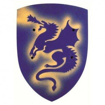 Bouclier en bois Dragon - bleu - VAH