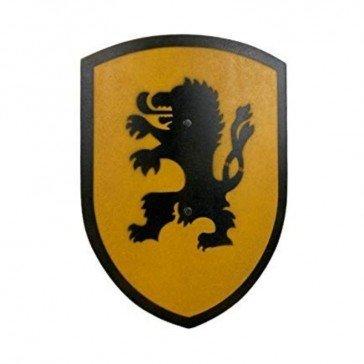 Bouclier lion en bois jaune et noir