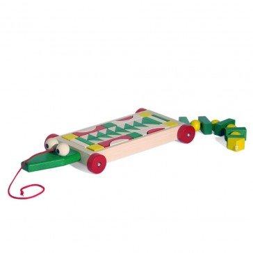 Charrette Crocodile de blocs en bois colorés - Ebert
