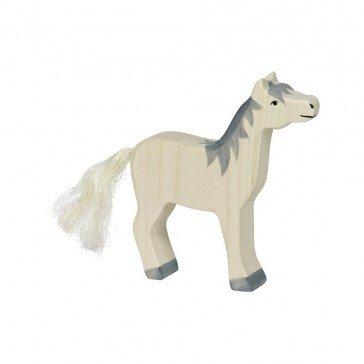 Cheval crinière grise - figurine Holztiger