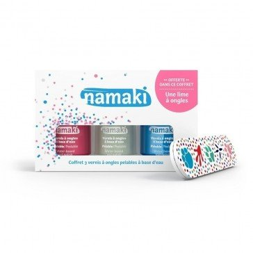 Coffret 3 vernis Rose Blanc Bleu ciel + lime - Namaki