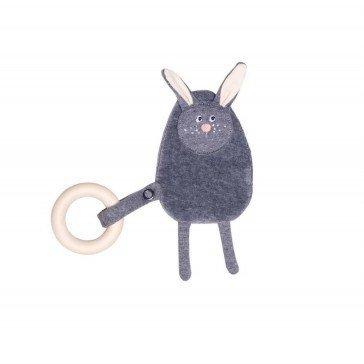 Hochet Lapin en coton avec anneau - Wooly Organic