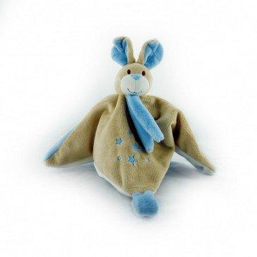 Doudou Lapin bleu - attache tétine - Mailou Tradition