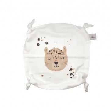 Doudou plat Panthère en coton biologique - Carotte & Compagnie