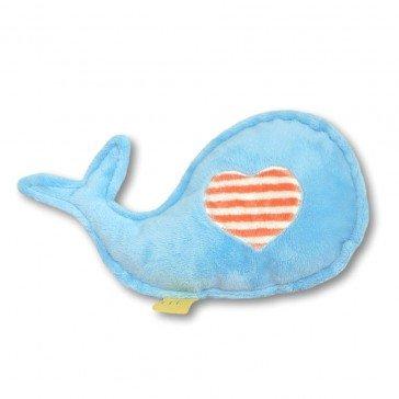 Doudou bébé baleine bleu rayures melon - Moncalin