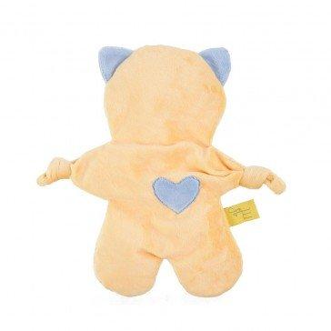 Doudou Flat Cat jaune et bleu bébé - Moncalin