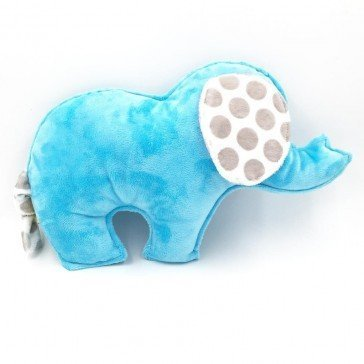 Doudou Eléphant turquoise - pois gris - Moncalin