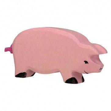 Cochon en bois - Figurine Holztiger