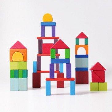 Filet de 60 blocs colorés en bois - Grimm's