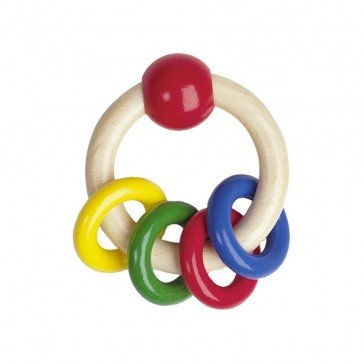 Hochet en bois 4 anneaux - Heimess