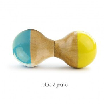 Hochet Maracas bleu/jaune du Jura - Vilac