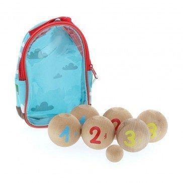 Jeu de pétanque en bois 6 boules avec sac transparent - Vilac