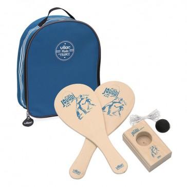 Jeu de Jokari en bois dans un sac Bleu - Vilac