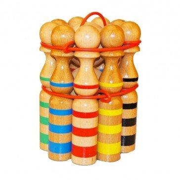Quilles en bois rubanées 30 cm - Artisan du Jura