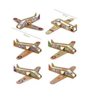 6 Avions à construire en carton - Pirouette Cacahouète