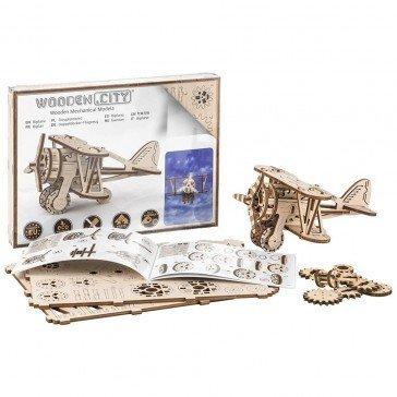 Maquette Puzzle 3D - Avion Biplan - Wooden City