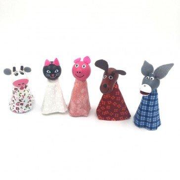5 Marionnettes à doigts Animaux - Artisan Tchèque