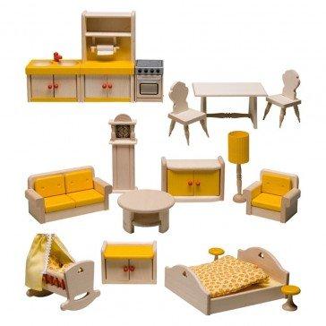 Ensemble de mobilier de maison de poupées 17 pièces - Fabricant Allemand