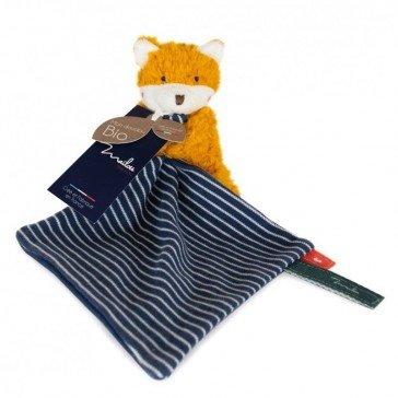 Peluche Renard avec doudou rayé en coton biologique - 20 cm - Maïlou Tradition