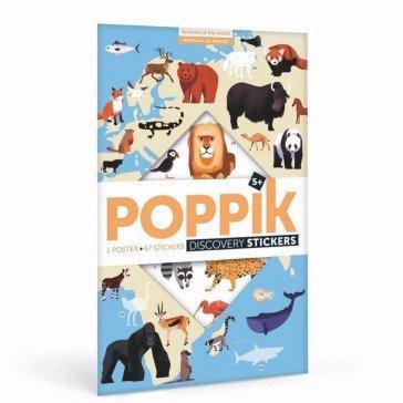 Poster découverte en stickers Poppik - Animaux du Mon