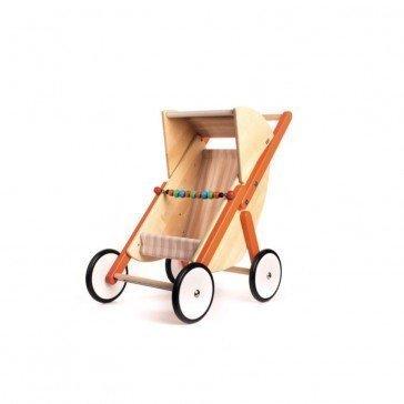 Poussette Buggy pour poupée - orange - Artisan Polonais