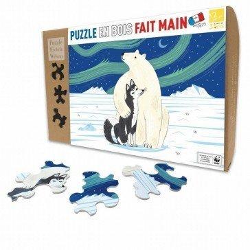 Puzzle en bois L'Ours et le Husky - 12 pièces - Puzzles Michèle Wilson
