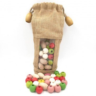 Sac de 100 perles à enfiler en bois - Artisan du Jura