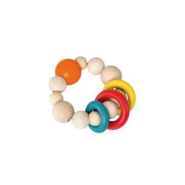 Hochet en bois anneaux colorés - Selecta