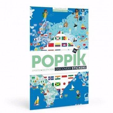 Poster découverte en stickers Poppik - Drapeaux