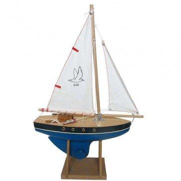 Voilier en bois coque bleue 30 cm - Bateaux Tirot