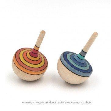 Toupie en bois colorée à rayures oranges